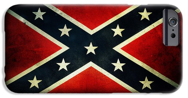 Retro iPhone Cases - Confederate flag iPhone Case by Les Cunliffe