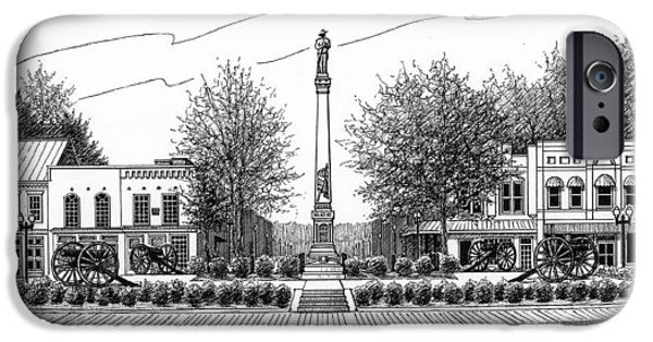 Drawing Of Franklin Tennessee iPhone Cases - Confederate Monument in Franklin TN iPhone Case by Janet King