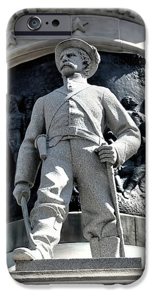 Statue Of Confederate Soldier iPhone Cases - Confederate Soldier II Alabama State Capitol iPhone Case by Lesa Fine