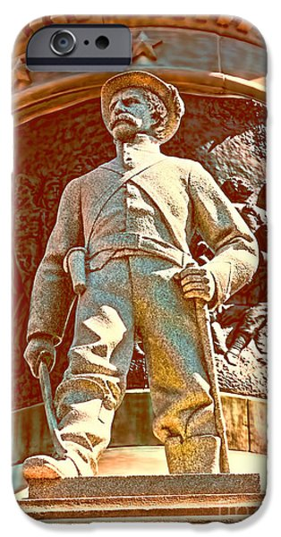 Statue Of Confederate Soldier iPhone Cases - Confederate Soldier Statue I Alabama State Capitol iPhone Case by Lesa Fine