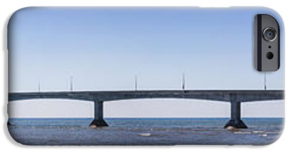 Lighthouse iPhone Cases - Confederation Bridge panorama iPhone Case by Elena Elisseeva