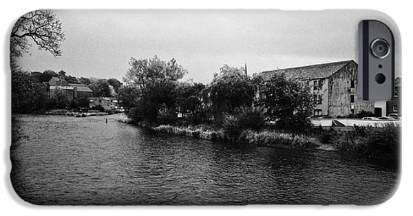 Overcast Day iPhone Cases - Confluence Of The Rivers Cocker And Derwent On A Rainy Overcast Day Cockermouth Cumbria England iPhone Case by Joe Fox