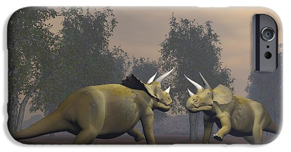 Triceratops iPhone Cases - Confrontation Between Two Triceratops iPhone Case by Elena Duvernay