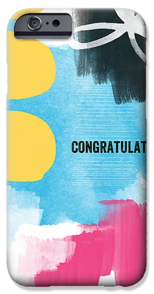 Greetings iPhone Cases - Congratulations- abstract art greeting card iPhone Case by Linda Woods