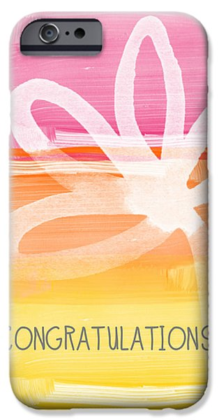Graduation iPhone Cases - Congratulations- Greeting Card iPhone Case by Linda Woods