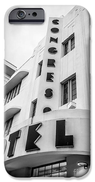 Congress iPhone Cases - Congress Hotel Art Deco District SOBE Miami Florida - Black and White iPhone Case by Ian Monk