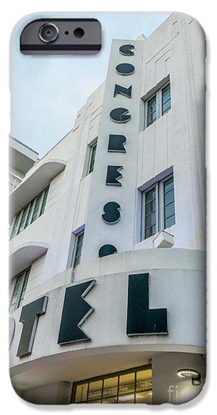 Congress iPhone Cases - Congress Hotel Art Deco District SOBE Miami Florida  iPhone Case by Ian Monk