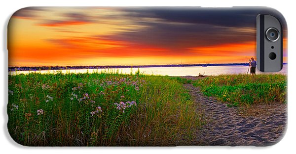 Warwick iPhone Cases - Conimicut Point Beach Rhode Island iPhone Case by Lourry Legarde