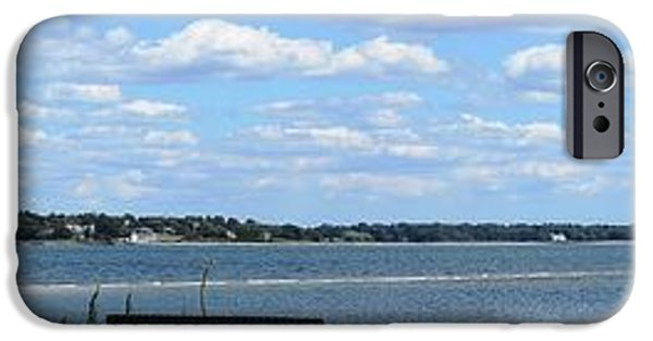 New England Lighthouse iPhone Cases - Conimicut Point Panoramic iPhone Case by Lisa Kilby