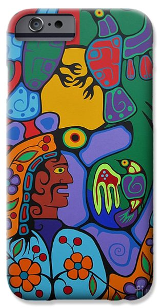 Thunder Paintings iPhone Cases - Connect with Spirit iPhone Case by Jim Oskineegish