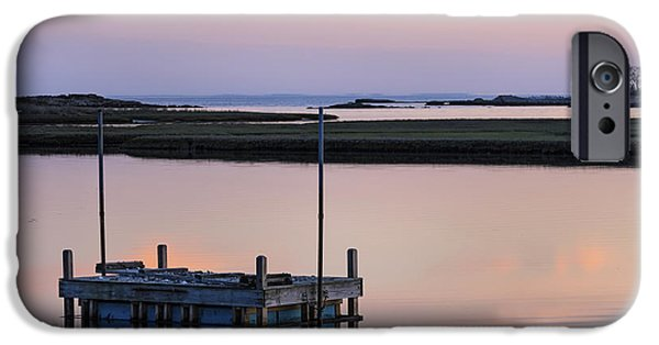 Salt Marsh. New England iPhone Cases - Connecticut Backwaters Sunset with dock Series 4 iPhone Case by Marianne Campolongo