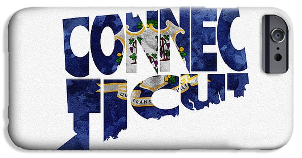 Usa Flag Mixed Media iPhone Cases - Connecticut Typographic Map Flag iPhone Case by Ayse Deniz