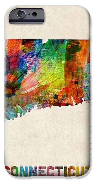 Geography iPhone Cases - Connecticut Watercolor Map iPhone Case by Michael Tompsett