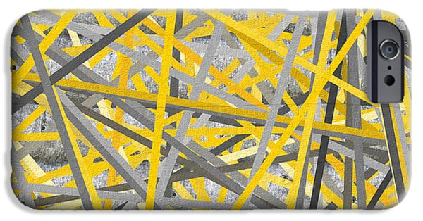Yellow And Grey Abstract Art iPhone Cases - Connection - Yellow And Gray Wall Art iPhone Case by Lourry Legarde