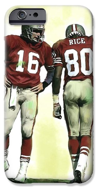 Fame Drawings iPhone Cases - Connection Joe Montana and jerry rice  iPhone Case by Iconic Images Art Gallery David Pucciarelli