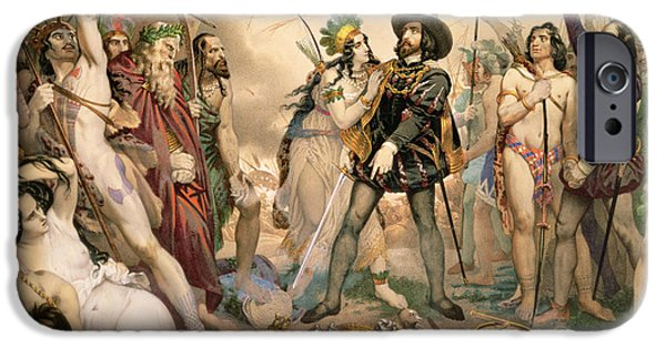 Messenger iPhone Cases - Conquest Of Mexico Hernando Cortes Destroying His Fleet At Vera Cruz, 1519 Litho iPhone Case by Nicholas Eustache Maurin