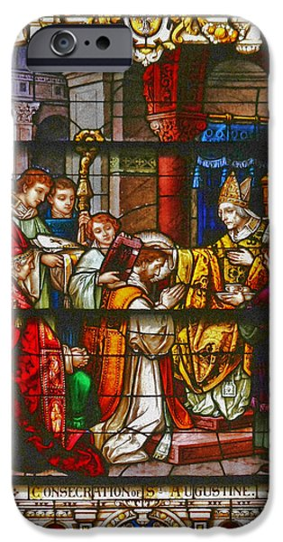 Consecration of St Augustine Stained Glass Window iPhone Case by Christine Till