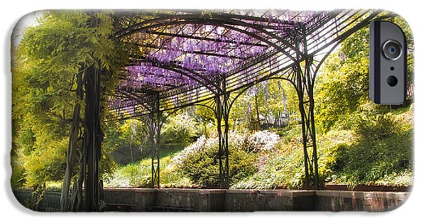 Balcony Digital iPhone Cases - Conservatory Garden Wisteria iPhone Case by Jessica Jenney