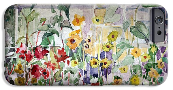 Sisters Drawings iPhone Cases - Conservatory Sunflowers iPhone Case by Mindy Newman
