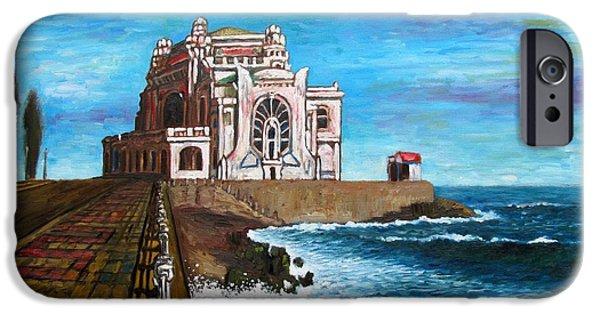 Buildings Mixed Media iPhone Cases - Constanta Casino at the Black Sea iPhone Case by Dan Haraga