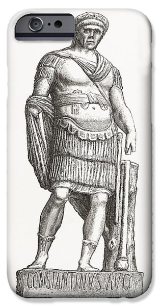 Statue Portrait iPhone Cases - Constantine I, Roman Emperor iPhone Case by Middle Temple Library