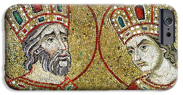 Byzantine iPhone Cases - Constantine The Great 270-337 And St. Helena Mosaic iPhone Case by Veneto-Byzantine School