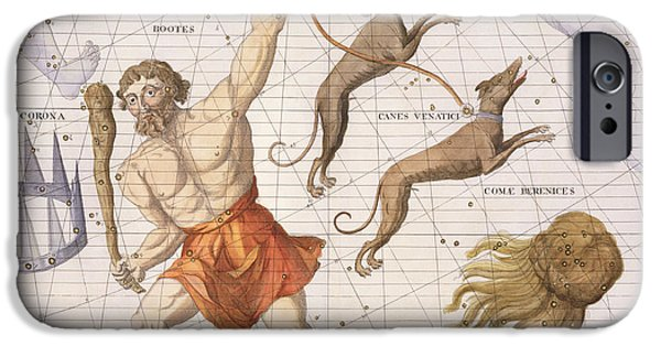 Hunting Drawings iPhone Cases - Constellation of Bootes iPhone Case by Sir James Thornhill