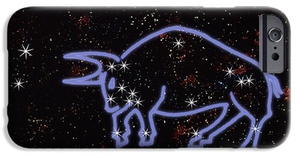 Constellations iPhone Cases - Constellation Of Taurus iPhone Case by Mike Agliolo
