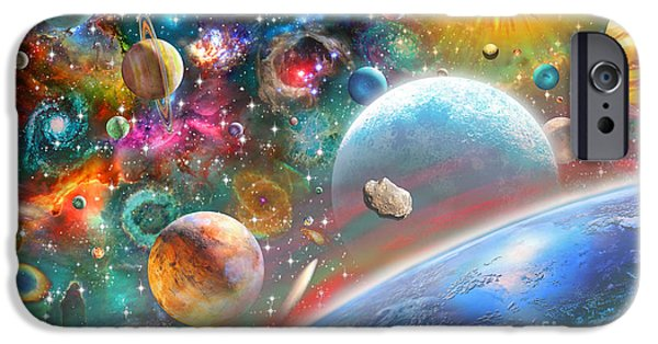 Intergalactic Space iPhone Cases - Constellations and Planets iPhone Case by Adrian Chesterman