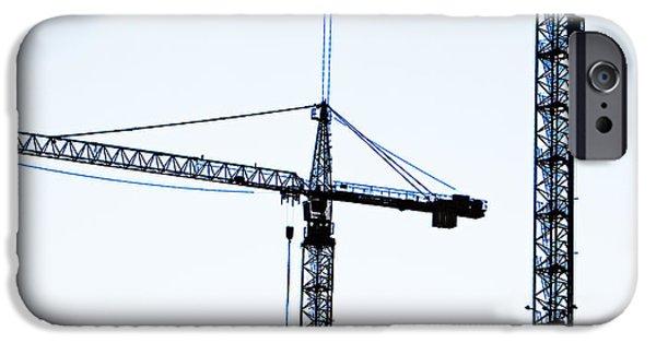Frame House Photographs iPhone Cases - Construction Cranes iPhone Case by Antony McAulay