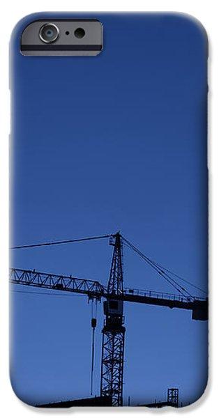 construction cranes at dusk iPhone Case by Antony McAulay