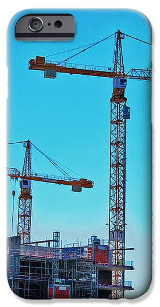 construction cranes HDR iPhone Case by Antony McAulay