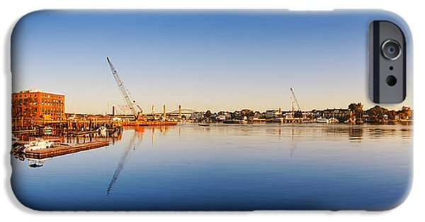 Prescott iPhone Cases - Construction equipment on the Piscataqua River iPhone Case by Jo Ann Snover