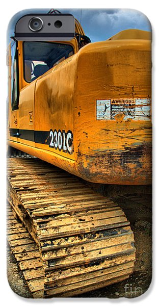 Backhoe iPhone Cases - Construction Excavator in HDR 1 iPhone Case by Amy Cicconi