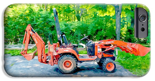Asphalt Paintings iPhone Cases - Construction Machinery Equipment 1 iPhone Case by Lanjee Chee
