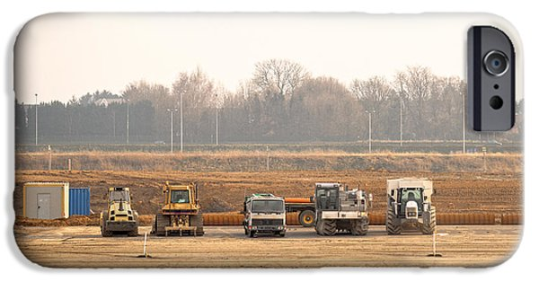 Machinery Pyrography iPhone Cases - Construction machines at construction site iPhone Case by Oliver Sved