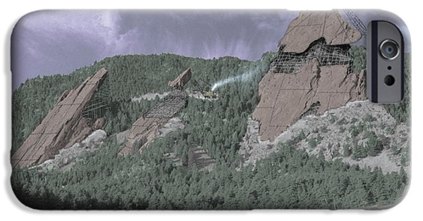 Spoof iPhone Cases - Construction of the Flatirons - 1931 iPhone Case by Jerry McElroy