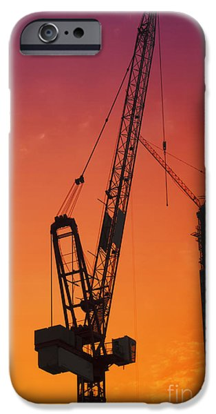 Industry Pyrography iPhone Cases - Construction site iPhone Case by Jelena Jovanovic