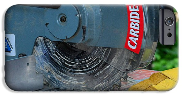 Circular Saw iPhone Cases - Construction The Chop Saw iPhone Case by Paul Ward