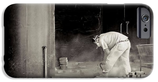 Circular Saw iPhone Cases - Construction worker BW iPhone Case by Rudy Umans