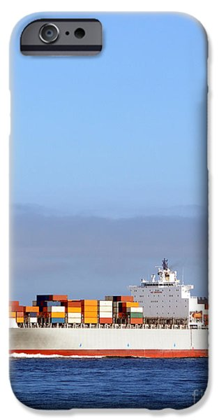 Merchants iPhone Cases - Container Ship at Sea iPhone Case by Olivier Le Queinec