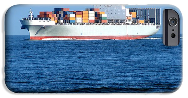 Carrier iPhone Cases - Container Ship iPhone Case by Olivier Le Queinec