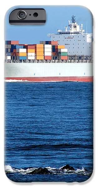 Container Ship iPhone Case by Olivier Le Queinec