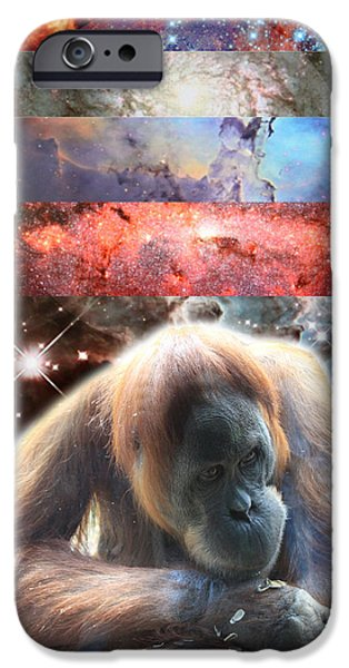 Orangutan Digital Art iPhone Cases - Contemplating Multiple Universes iPhone Case by John Lautermilch