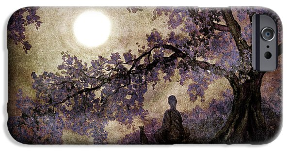 Buddhism Digital iPhone Cases - Contemplation Beneath the Boughs iPhone Case by Laura Iverson