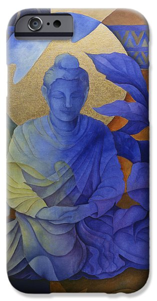 Buddhist Paintings iPhone Cases - Contemplation - Buddha Meditates iPhone Case by Susanne Clark