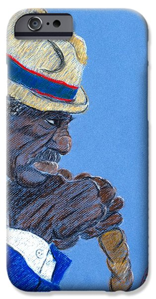 African-americans Pastels iPhone Cases - Contemplation iPhone Case by Charlie Black