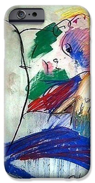 Contemplative Drawings iPhone Cases - Contemplation iPhone Case by Elaine Schloss