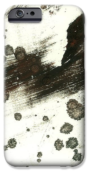 Contemplation in Black and White abstract art iPhone Case by Ann Powell