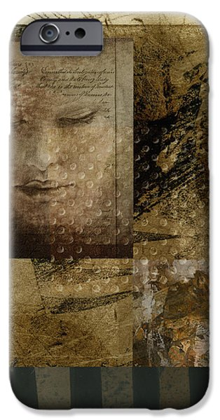 Monochrome Mixed Media iPhone Cases - Contemplation in Sepia iPhone Case by Ann Powell
